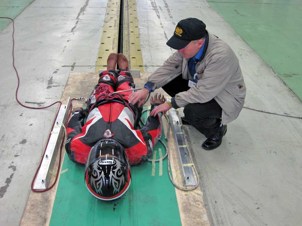 Marco Guidarini, presidente di AMI, Associazione Motociclisti Incolumi, al Crash Test per la Protezione dei Motociclisti effettuato al Laboratorio di Sicurezza dei Trasporti (LaST) di Milano - 2008