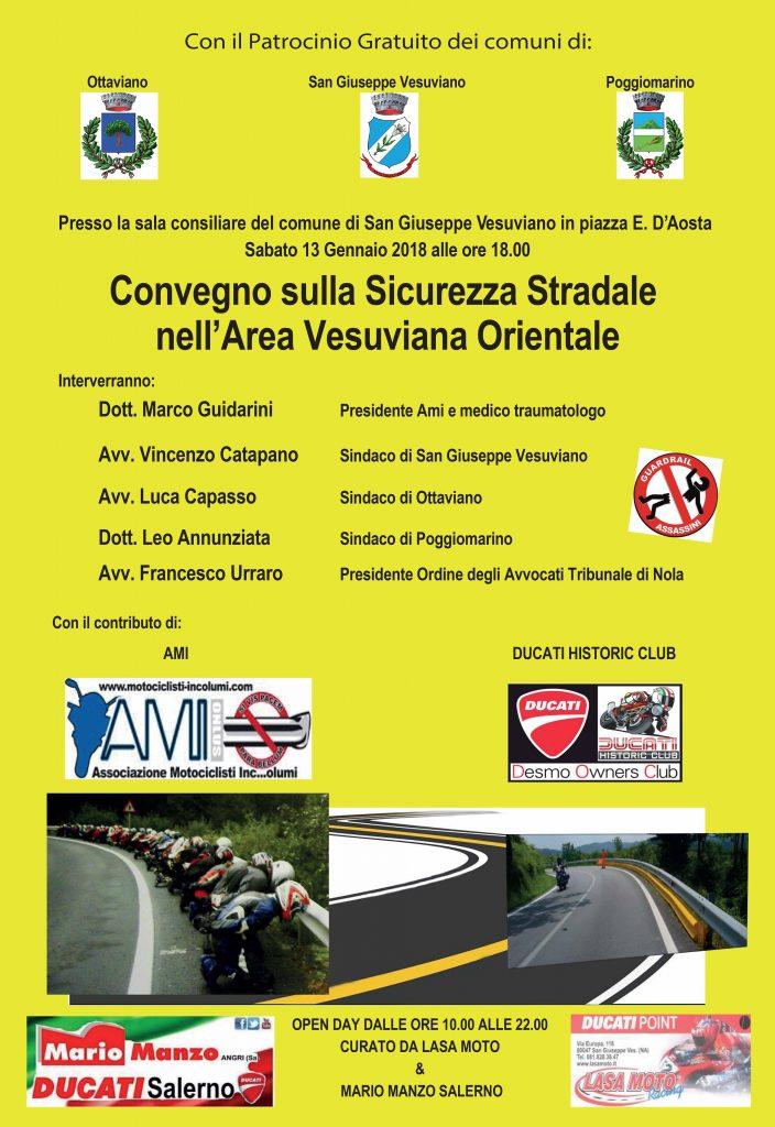 Locandina convegno sicurezza stradale a San Giuseppe Vesuviano - 13 gennaio 2018