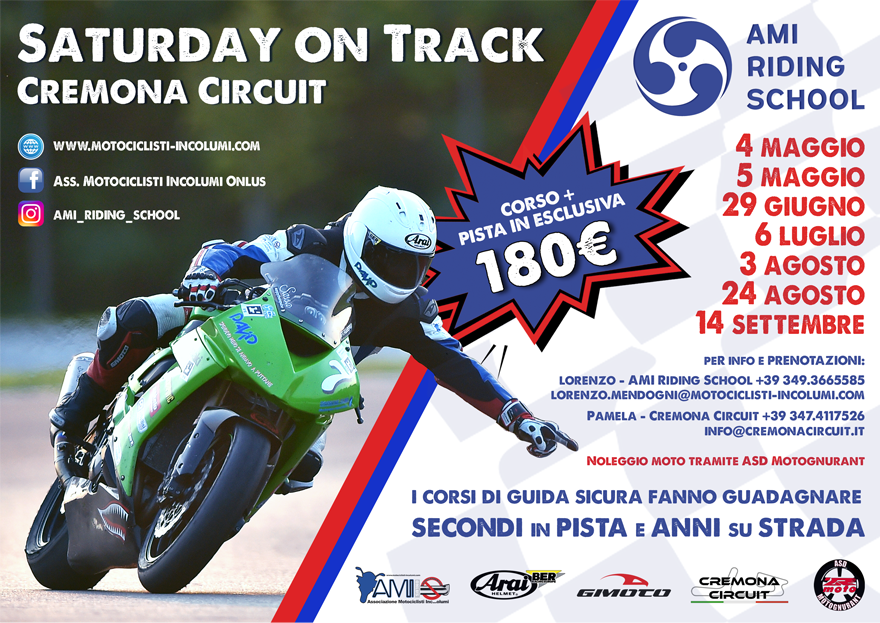 Date del Saturday on track 2019 - Cremona Circuit
